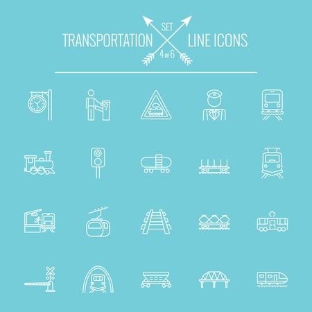 goods train: Transportation icon set. Vector white icon isolated on light blue background. Illustration