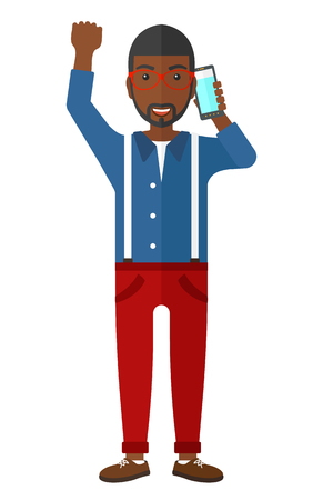 talking phone: An african-american businessman with raised hand talking on the phone vector flat design illustration isolated on white background.