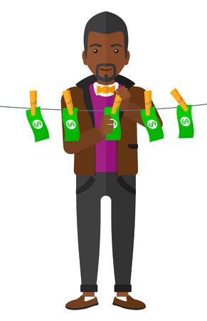 An african-american businessman drying banknotes on clothesline vector flat design illustration isolated on white background.