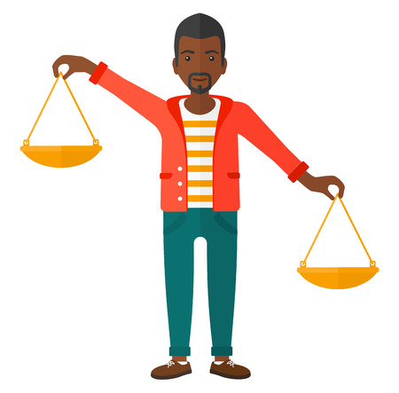 outweigh: An african-american businessman holding scales in hands vector flat design illustration isolated on white background.