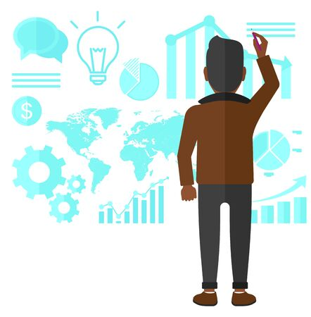 spokesperson: An african-american man turned back at the office and painting something on the wall with many charts on it vector flat design illustration isolated on white background.