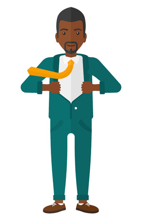 undress: An african-american businessman standing and taking off his jacket vector flat design illustration isolated on white background. Illustration