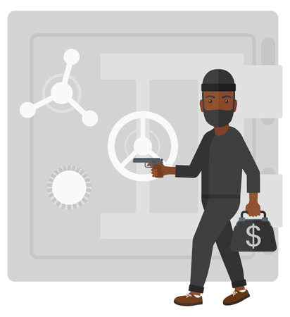 heist: An african-american professional burglar in black mask holding hand gun and standing near the big safe door vector flat design illustration isolated on white background.