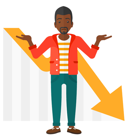 An african-american stressed man with going down chart on a background vector flat design illustration isolated on white background.