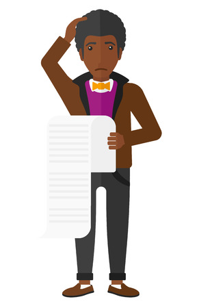 office worker cartoon: An african-american worried employee holding a long bill in hand vector flat design illustration isolated on white background.