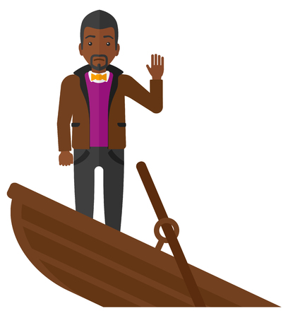 A scared businessman standing in a sinking boat asking for help vector flat design illustration isolated on white background. Illustration