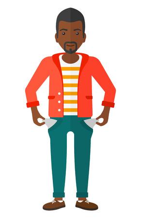 confused businessman: A confused businessman showing his epmty pockets vector flat design illustration isolated on white background.