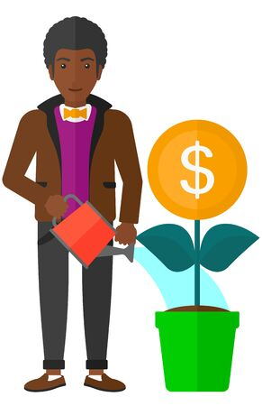 An african-american man taking care of finances watering a money flower vector flat design illustration isolated on white background.