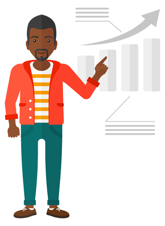 increasing: An african-american man showing with his forefinger at increasing chart vector flat design illustration isolated on white background.