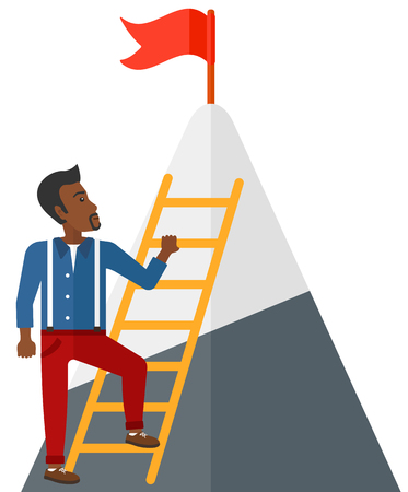 stair climber: An african-american man standing and holding the ladder to get the red flag on the top of mountain vector flat design illustration isolated on white background.