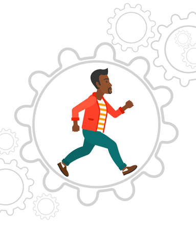 An african-american man running inside a big cogwheel vector flat design illustration isolated on white background.