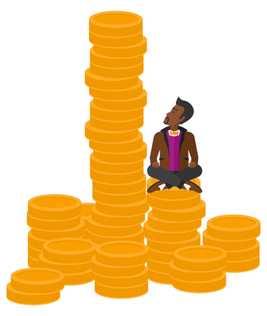 An african-american businessman sitting on stack of golden coins and looking up to the biggest one vector flat design illustration isolated on white background.