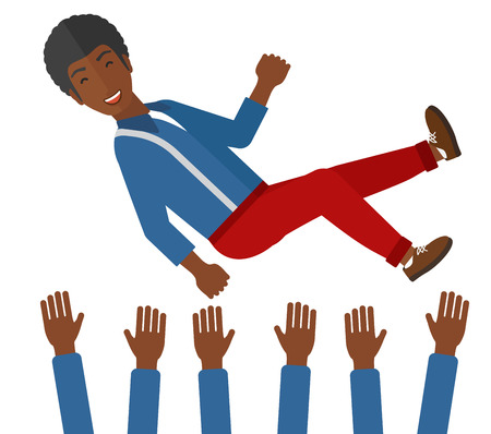 coworkers: An african-american businessman get thrown into the air by coworkers during celebration vector flat design illustration isolated on white background. Illustration