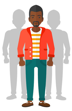 coworkers: An african-american man with some shadows of his coworkers behind him vector flat design illustration isolated on white background.