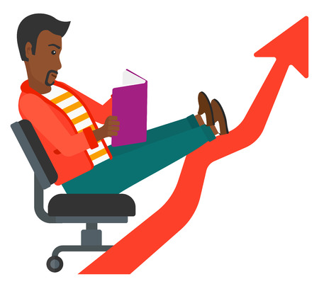 An african-american businessman sitting in chair with a book in hands while his legs lay on an uprising arrow vector flat design illustration isolated on white background.