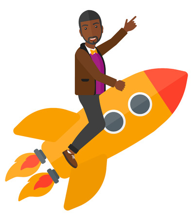 man pointing up: An african-american man flying on the rocket with a forefinger pointing up vector flat design illustration isolated on white background. Illustration