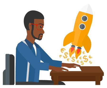 An african-american man sitting at the table and looking at a rocket with money taking off the paper vector flat design illustration isolated on white background.