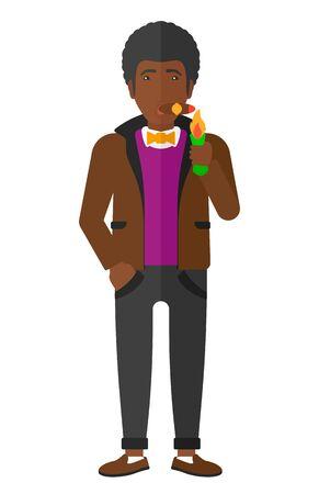 白い背景に分離された葉巻ベクトル フラット設計図を喫煙アフリカ系アメリカ人の男。