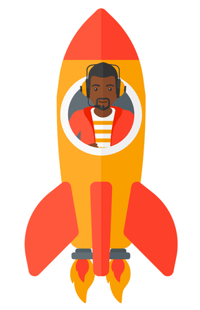 taking off: An african-american man taking off in a rocket vector flat design illustration isolated on white background. Illustration