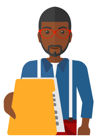 handing: An african-american boss receiving a file from his employee vector flat design illustration isolated on white background.