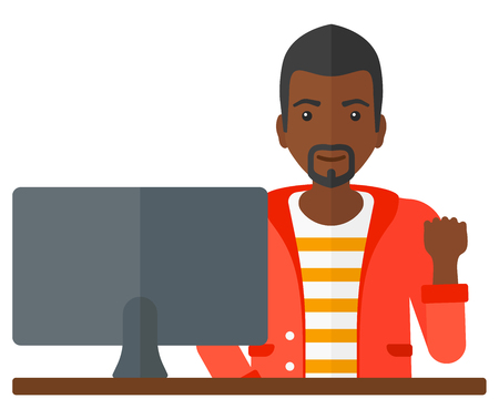 black professional: A happy african-american businessman expressing great satisfaction while looking at computer monitor vector flat design illustration isolated on white background.