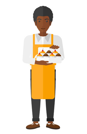 africanamerican: An african-american man holding a box of cakes vector flat design illustration isolated on white background.