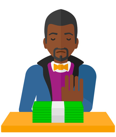 denial: An african-american man moving dollar bills away and refusing to take a bribe vector flat design illustration isolated on white background.