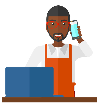 proprietor: An african-american man taking an order by phone vector flat design illustration isolated on white background. Illustration
