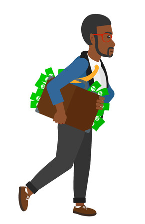 bribery: An african-american businessman walking with suitcase full of money vector flat design illustration isolated on white background.