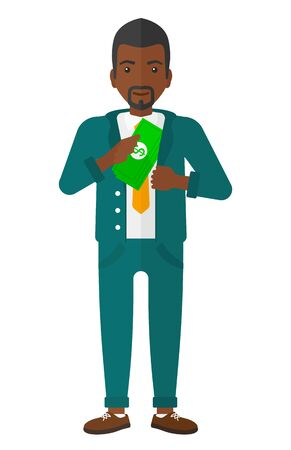 putting: An african-american businessman putting money in his pocket vector flat design illustration isolated on white background. Illustration