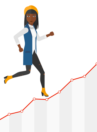runner up: An african-american business woman running along the growth graph vector flat design illustration isolated on white background.