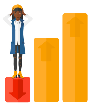bottom: Upset business woman clutching her head and standing in bottom of uprising chart vector flat design illustration isolated on white background. Illustration