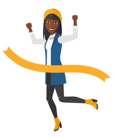 concurrence: An african-american business women running through finishing line vector flat design illustration isolated on white background. Illustration