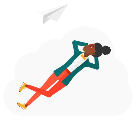 flying paper: An african-american woman lying on a cloud and looking at flying paper plane vector flat design illustration isolated on white background.