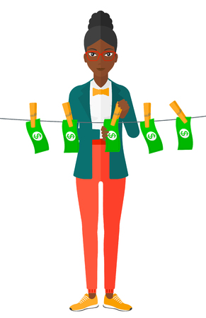 counterfeit: An african-american business woman drying banknotes on clothesline vector flat design illustration isolated on white background. Illustration