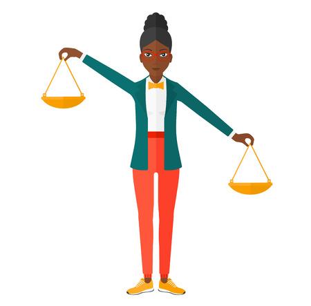 Une femme d'affaires afro-américaine tenant une balance dans les mains vecteur design plat illustration isolé sur fond blanc.