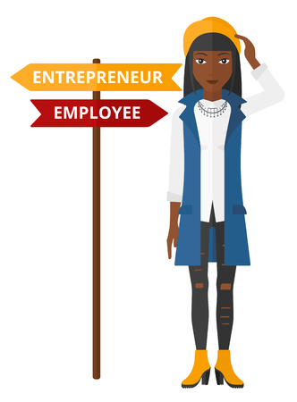 career choices: An african-american confused woman with two career choices in front of her vector flat design illustration isolated on white background. Illustration