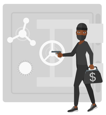 burglar: An african-american professional burglar in black mask holding hand gun and standing near the big safe door vector flat design illustration isolated on white background.
