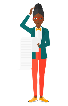An african-american worried employee holding a long bill in hand vector flat design illustration isolated on white background.