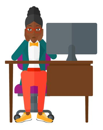 An african-american tired employee sitting at the table in front of computer monitor in office and clutching her head vector flat design illustration isolated on white background.