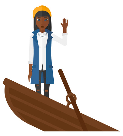 An african-american scared business woman standing in a sinking boat asking for help vector flat design illustration isolated on white background. Illustration