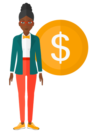 business woman standing: An african-american business woman standing with a big dollar coin behind her vector flat design illustration isolated on white background. Illustration