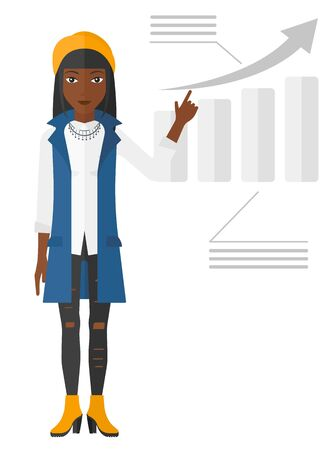 increasing: An african-american woman showing with her forefinger at increasing chart vector flat design illustration isolated on white background.