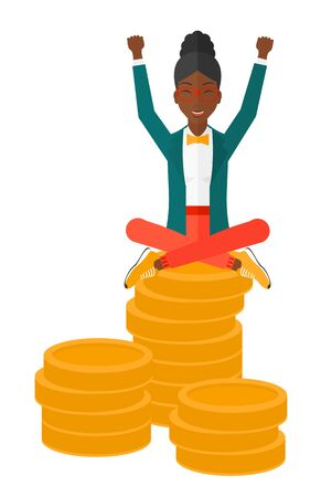 An african-american business woman with a happy face and raised hands sitting on golden coins vector flat design illustration isolated on white background.