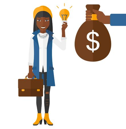 exchanging: An african-american business woman exchanging her idea bulb to money bag vector flat design illustration isolated on white background.