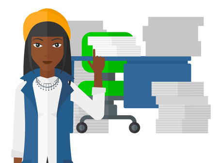 forefinger: An african-american woman pointing up with her forefinger while standing in office with many files on the table vector flat design illustration isolated on white background.