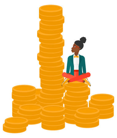 An african-american business woman sitting on stack of golden coins and looking up to the biggest one vector flat design illustration isolated on white background.