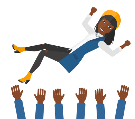 An african-american business woman get thrown into the air by coworkers during celebration vector flat design illustration isolated on white background. Ilustração