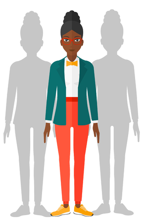 coworkers: An african-american woman with some shadows of her coworkers behind her vector flat design illustration isolated on white background. Illustration