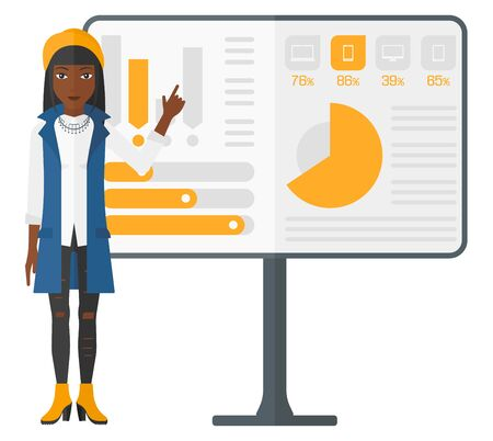 An african-american woman pointing at charts on a board during presentation vector flat design illustration isolated on white background.